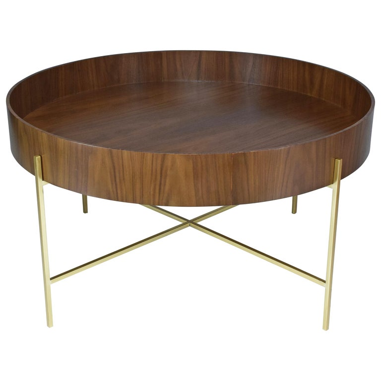 Contemporary Coffee Table.Contemporary Walnut And Brass Coffee Table By Ja Studio