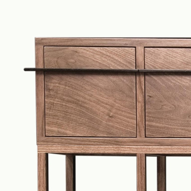 American Contemporary Walnut and Bronze Credenza For Sale