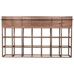 Contemporary Walnut and Bronze Credenza