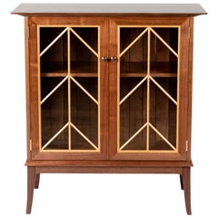 Contemporary Walnut Cabinet with Glass Doors and Butternut Details