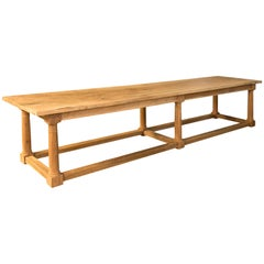 Contemporary walnut refectory table, after English Models.