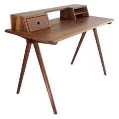 Contemporary Walnut Home Office Secretary Desk