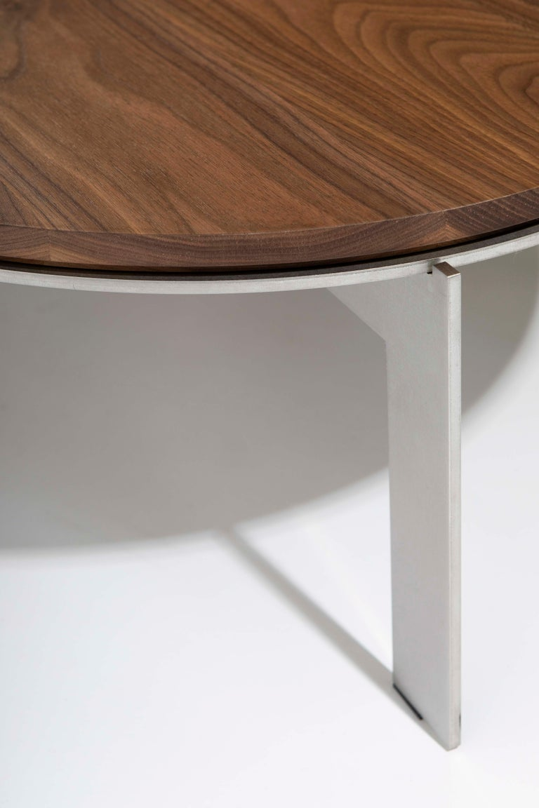 Belgian Contemporary Walnut Side Table, Joined E24.4 by Barh For Sale