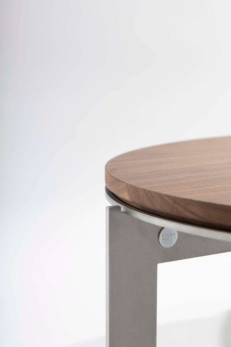 Brushed Contemporary Walnut Side Table, Joined E24.4 by Barh For Sale