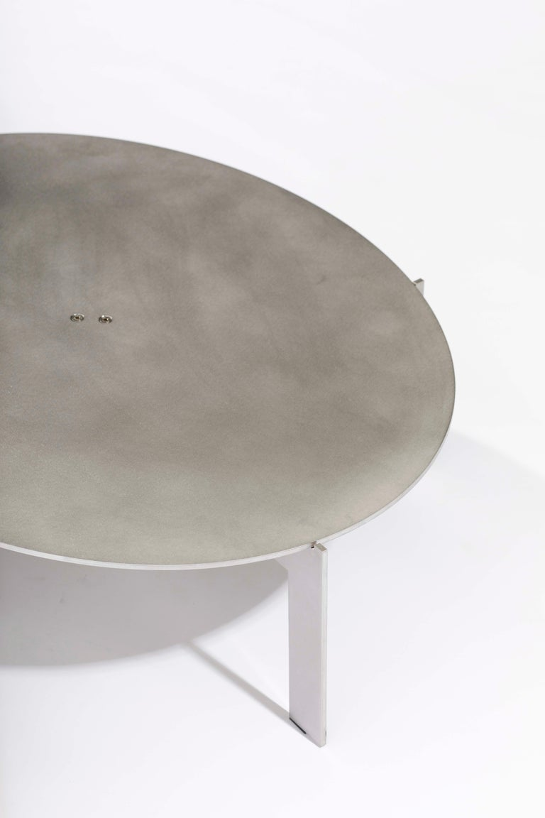 Stainless Steel Contemporary Walnut Side Table, Joined E24.4 by Barh For Sale