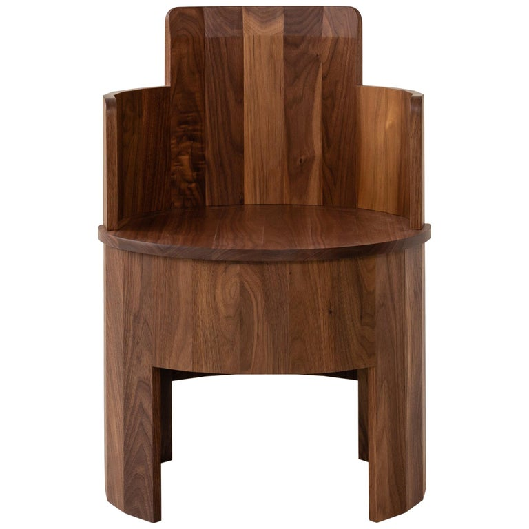 . Contemporary Walnut Wood Cooperage Chair by Fort Standard  in Stock