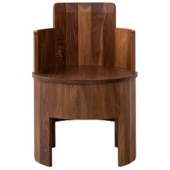Contemporary Walnut Wood Cooperage Occasional Chair by Fort Standard