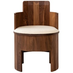 Contemporary Walnut Wood Upholstered Cooperage Chair by Fort Standard