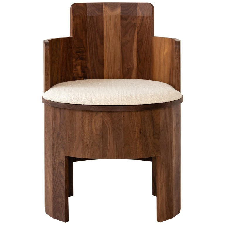 Contemporary Walnut Wood Upholstered Cooperage Chair by Fort Standard For Sale