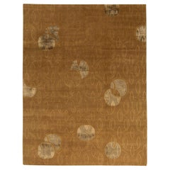 Contemporary Warm Brown and Gray Hand Knotted Wool Rug