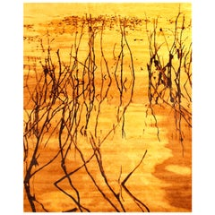 Contemporary Water Dance Hand Knotted Wool Gold and Brown Rug