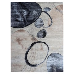Contemporary Watercolor Beige, Nude, Blue, Brown Wool Hand-Knotted Oversize Rug