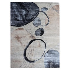 Contemporary Watercolor Circles Beige, Nude, Blue, Brown Wool Hand-Knotted Rug