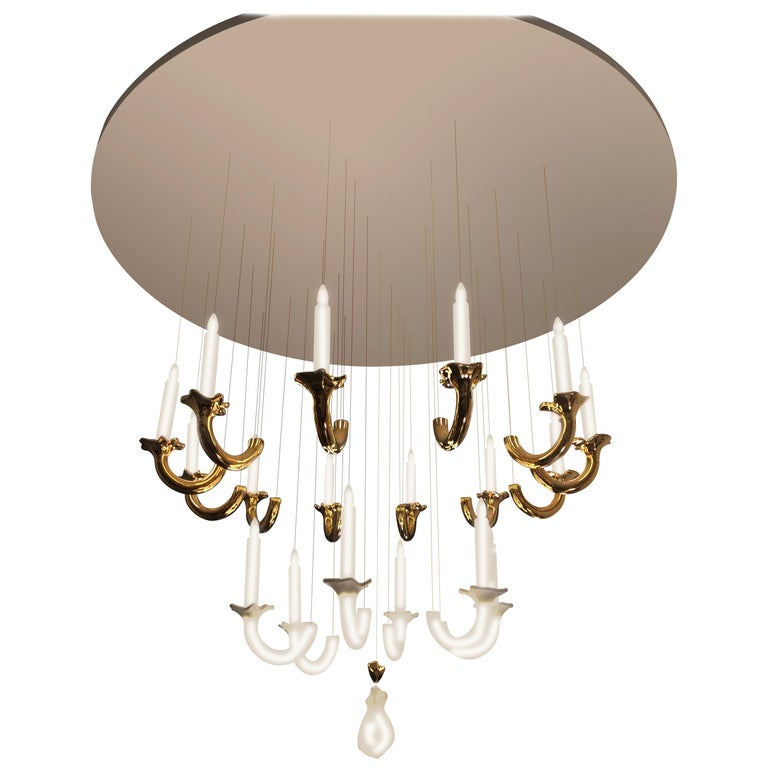 "Contemporary ""Wersailles 18 Or"" Chandelier in Handmade Limoges Porcelain For Sale"