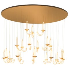 "Contemporary ""Wersailles 21"" Chandelier in Handmade Limoges Porcelain"