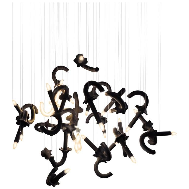 "Contemporary ""Wersailles Carbone Déconstruit"" Chandelier in Handmade Limoges Por For Sale"