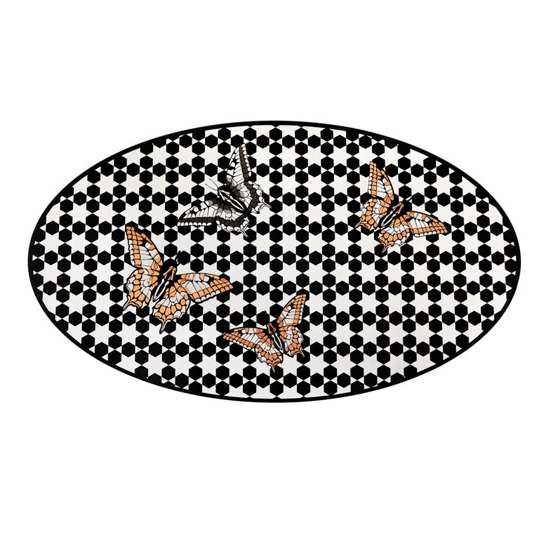 Modern Contemporary White and Black Wood Veneer Oval Table with Copper Decorations For Sale