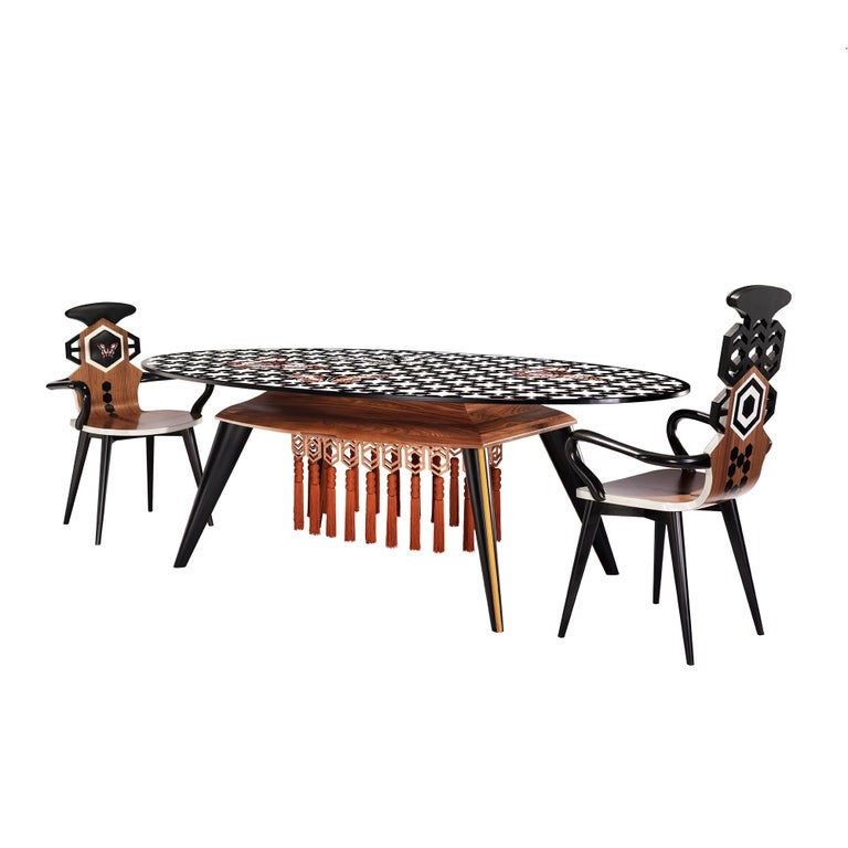 Contemporary White and Black Wood Veneer Oval Table with Copper Decorations For Sale 1