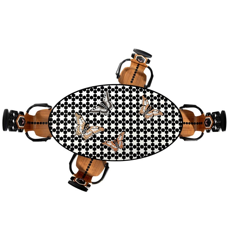 Contemporary White and Black Wood Veneer Oval Table with Copper Decorations For Sale 2