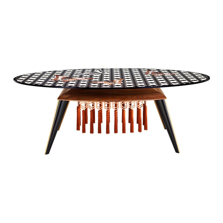 Contemporary White and Black Wood Veneer Oval Table with Copper Decorations For Sale