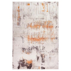 Contemporary White and Gold Abstract Modern Wool and Silk Rug