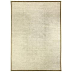 Contemporary White and Gold Hand Knotted Wool and Silk Rug