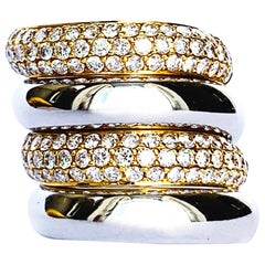 Contemporary White and Yellow Gold Detachable Rings with Diamonds