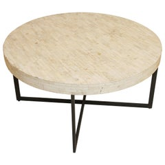 Contemporary White Bone Inlay Round Table