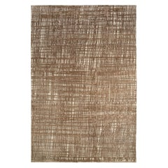Contemporary White, Bronze and Silver Wool/Silk Area Rug