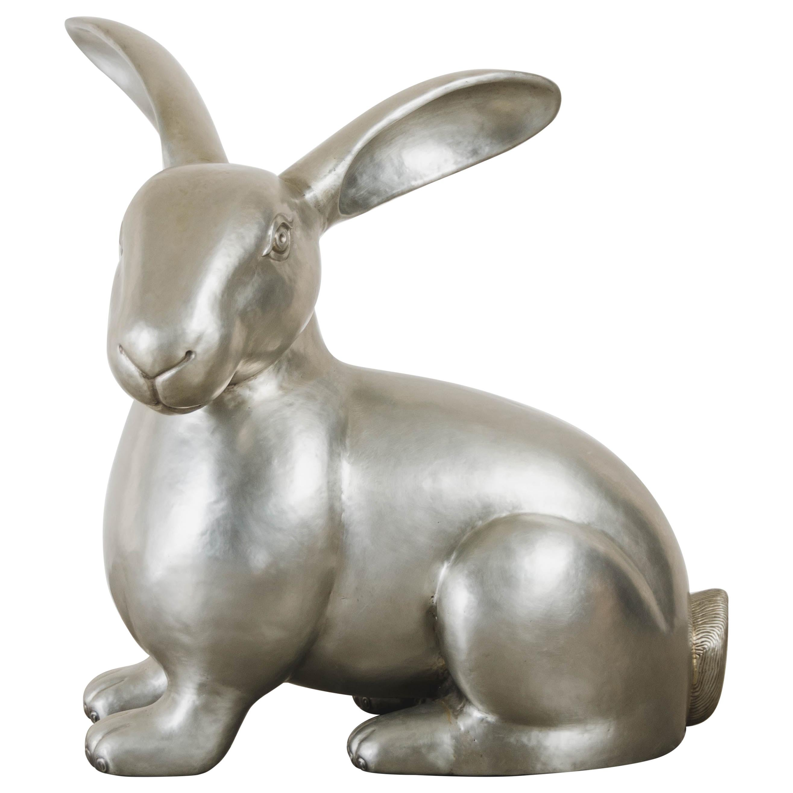 Contemporary White Bronze Rabbit Sculpture by Robert Kuo, Hand Repoussé