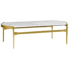 Contemporary White Calcutta Marble Coffee Table.