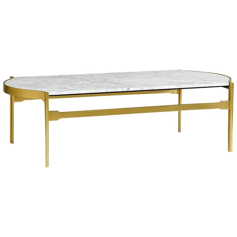 Contemporary White Calcutta Marble Coffee Table. For Sale