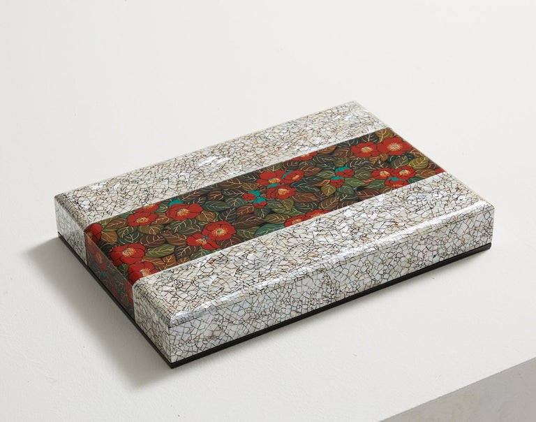 South Korean Contemporary White Decorative Wooden Art Box with Red Camellia Design For Sale