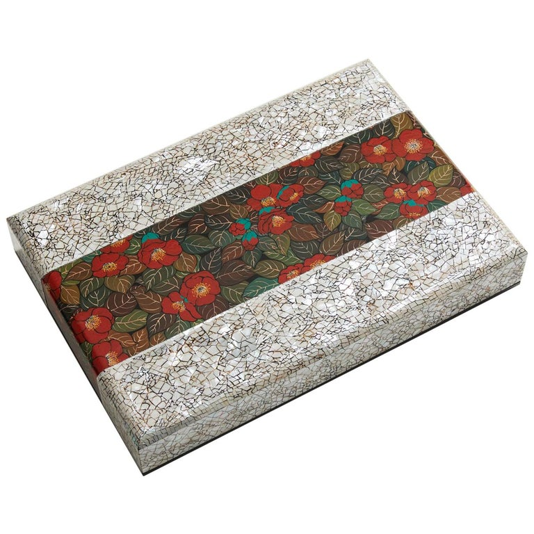 Contemporary White Decorative Wooden Art Box with Red Camellia Design For Sale