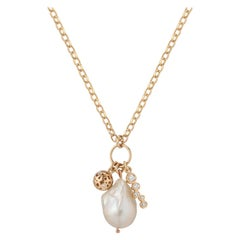 Contemporary White Freshwater Baroque Pearl and 0.37 Carat Diamond Charm Pendant