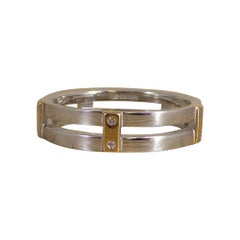 Contemporary White Gold and Yellow Gold Band Ring Set with Diamonds