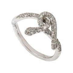 "Contemporary White Gold Diamond ""Snake"" Ring"