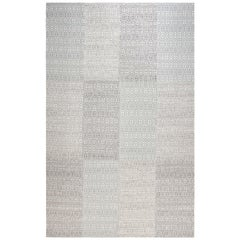 Contemporary White and Gray Flat-Weave Rug