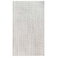 Contemporary White and Gray Terra Rug Hand Knotted in Natural Wool