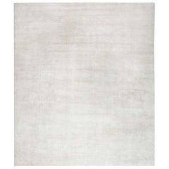 Contemporary White Handmade Wool Rug