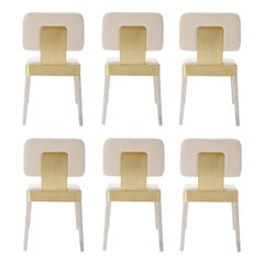 Contemporary White Oak Dining Chairs, Set of 8