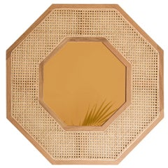 Contemporary White Oak Rattan Bronze Tinted Mirror by SinCa Design