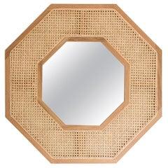 Contemporary White Oak Rattan Mirror by SinCa Design