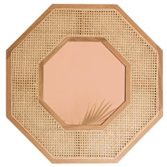 Contemporary White Oak Rattan Rose Gold Tinted Mirror by SinCa Design