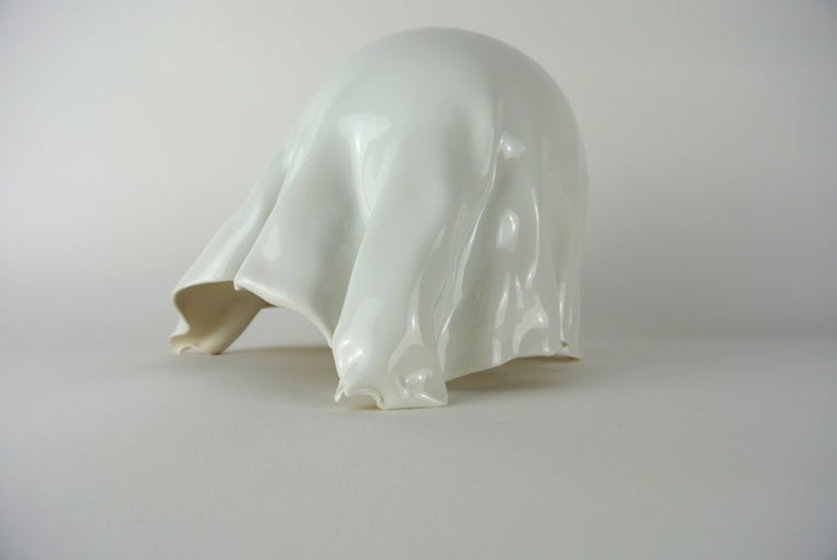 German Contemporary White Porcelain Object by Danish Artist Christine Roland For Sale