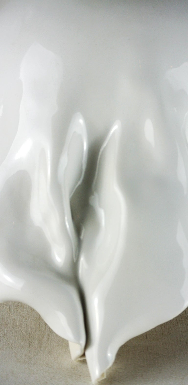 Hand-Crafted Contemporary White Porcelain Object by Danish Artist Christine Roland For Sale