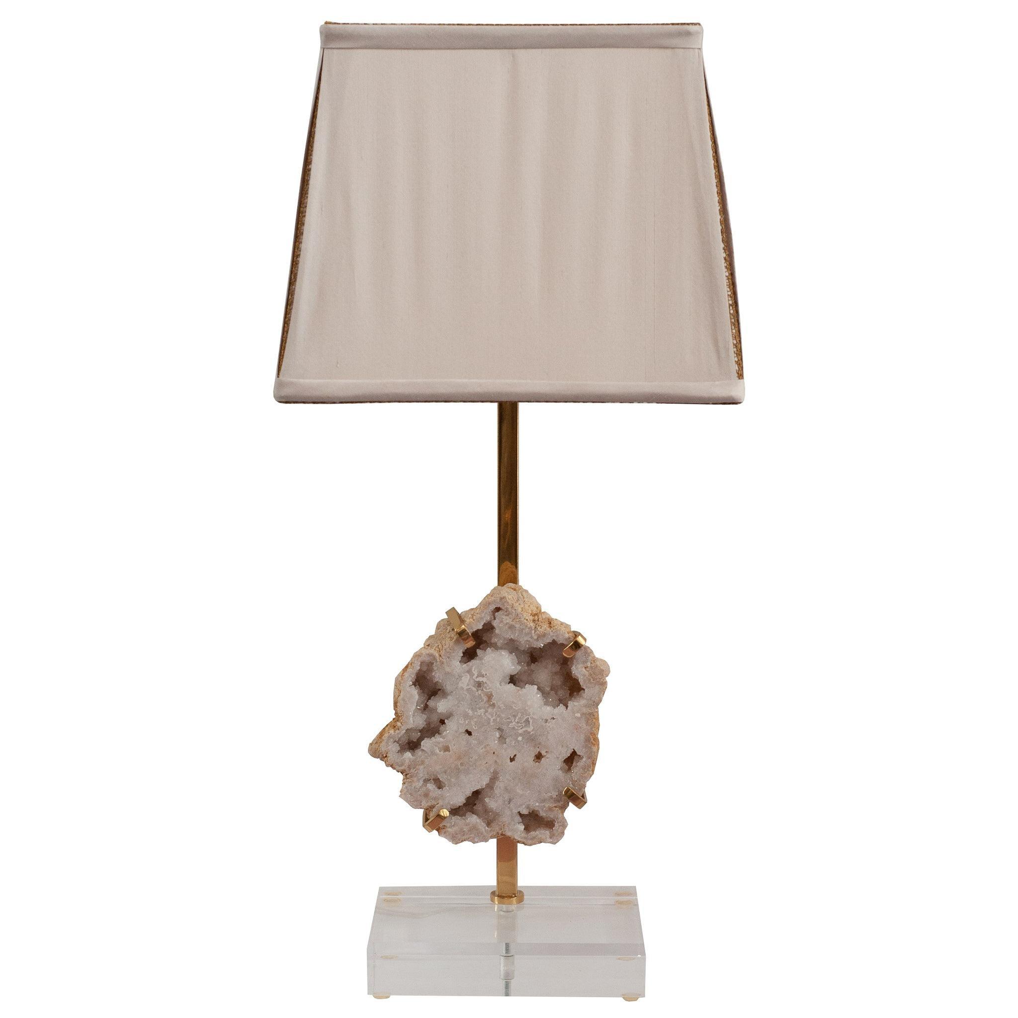 Contemporary White Quartz Geode & Brass Table Lamp with Custom Silk Shade