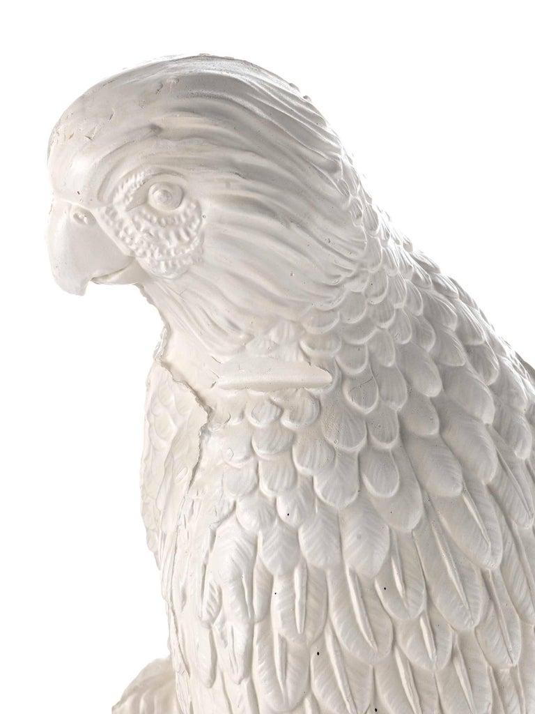 Art Deco Contemporary White Satin Enameled Ceramic Parrot Sculpture For Sale