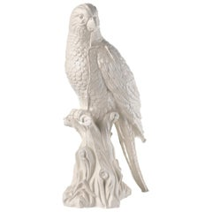 Contemporary White Satin Enameled Ceramic Parrot Sculpture