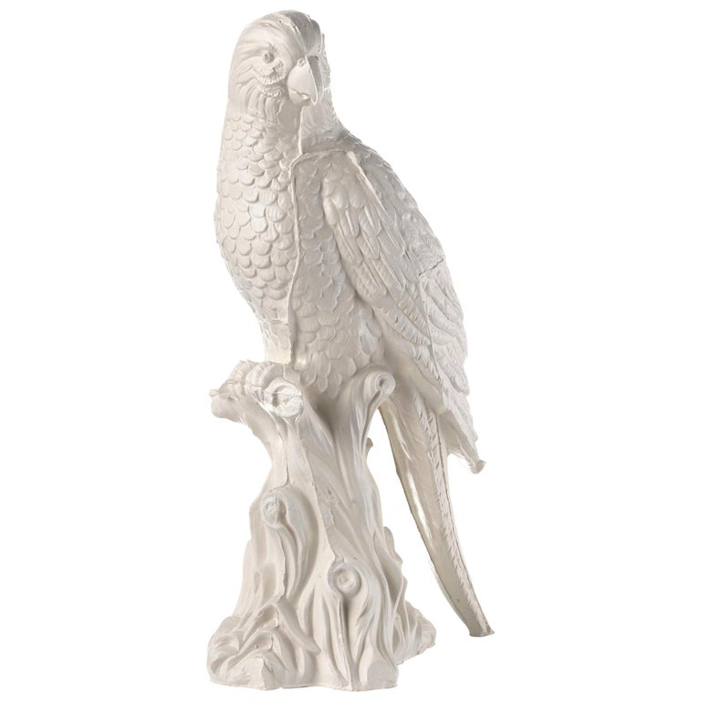 Contemporary White Satin Enameled Ceramic Parrot Sculpture For Sale